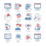 SEO Thin Line Icons moderno libre illustration