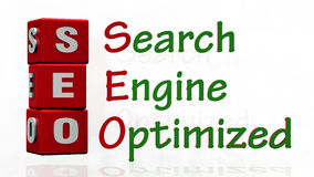 SEO with three red boxes. Royalty Free Stock Photo