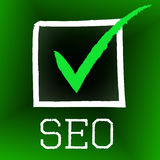 Seo Tick Indicates Confirmed Correct And Pass Royalty Free Stock Image