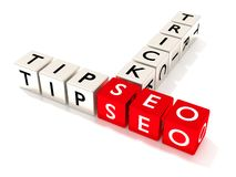 SEO tips and tricks concept illustration isolated dice. Several white dice showing the word tips and tricks next to three red cubes with the letters seo search royalty free illustration