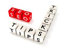 SEO tips and tricks concept illustration isolated dice. Several white dice showing the word tips and tricks next to three red cubes with the letters seo search vector illustration