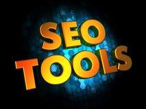 Seo Tools Concept en los antecedentes de Digitaces. Imagenes de archivo