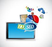 Seo tools icons and tablet illustration Stock Photo