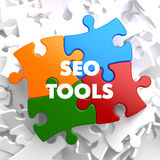 SEO Tools on Multicolor Puzzle. See my other works in portfolio royalty free stock image