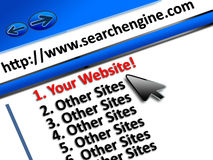 SEO top website placement. SEO website performance on search engine placement or ranking enhancement concept, your website appearing on number 1 result in a Stock Photo