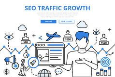 SEO traffic growth concept flat line art vector icons banner Stock Photos
