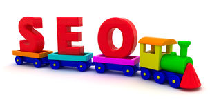 SEO train. The word SEO on the toy train Royalty Free Stock Image