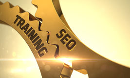 SEO Training Concept Gouden tandraderen 3d Royalty-vrije Stock Foto's