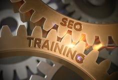 SEO Training en las ruedas dentadas de oro ilustración 3D Fotos de archivo