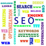 SEO. Tthe word cloud of S E O - Search Engine Optimization Stock Photo