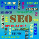 SEO. Tthe word cloud of S E O - Search Engine Optimization stock image