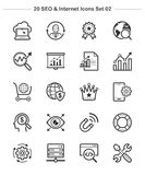 SEO u. Internet-Ikonen stellten 2, Strichstärkenikonen ein Lizenzfreie Stockfotografie