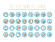 Seo und Geschäftsikonen auf blauen Kreisen Stockbilder