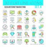SEO und Internet-vermarktende Ikonen stockbilder