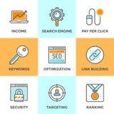 SEO und Netzoptimierungslinie Ikonen eingestellt Stockfotografie