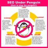SEO Under Penguin. How to stop the Penguin?. 5 tips for webmasters to position pages correctly under the algorithm penguin Stock Illustration