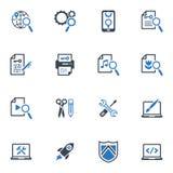 SEO & uppsättning 1 för internetmarknadsföringssymboler - blå serie Arkivbild