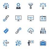 SEO & uppsättning 2 för internetmarknadsföringssymboler - blå serie