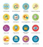 SEO & uppsättning 4 för symboler för internetmarknadsföringslägenhet - bubbla Fotografering för Bildbyråer