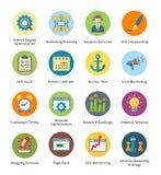SEO & uppsättning 5 för symboler för internetmarknadsföringslägenhet - bubbla Arkivfoton