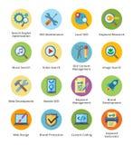 SEO & uppsättning 1 för symboler för internetmarknadsföringslägenhet - bubblaserie Arkivbild
