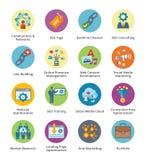SEO & uppsättning 2 för symboler för internetmarknadsföringslägenhet - bubblaserie Royaltyfri Fotografi