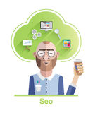 Seo vector with cloud and icons Royalty Free Stock Photos
