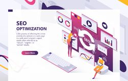 SEO optimization vector isometric concept banner. SEO vector isometric background. Optimization process of internet search results for online visibility of royalty free illustration