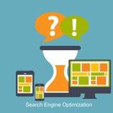 SEO - Vector plano del icono de la optimización del Search Engine stock de ilustración