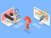 SEO vs plant isometriskt vektorbegrepp för PPC stock illustrationer