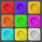 Seo, Währungszeichen, menschliches Gehirn, Kugel und Reihe oben, Schraubenzieher Lizenzfreies Stockfoto