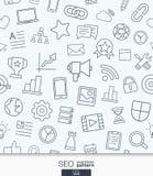 SEO wallpaper. Black and white marketing seamless pattern. Stock Photo