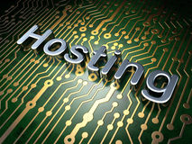 SEO web design concept: Hosting on circuit board background Royalty Free Stock Photo