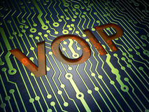 SEO web design concept: VOIP on circuit board. SEO web design concept: circuit board with word VOIP, 3d render Stock Photos
