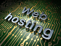 SEO web design concept: Web Hosting on circuit board background. SEO web design concept: circuit board with word Web Hosting, 3d render Stock Image