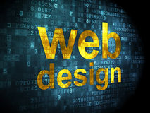SEO web development concept: Web Design on digital. SEO web development concept: pixelated words Web Design on digital background, 3d render stock images