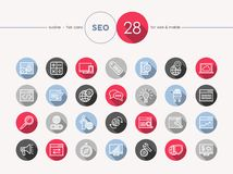 Seo web flat icons outline style set Royalty Free Stock Photography