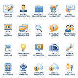 SEO web icons  blue orange series. Vector icons set for websites, guides, booklets Royalty Free Stock Images