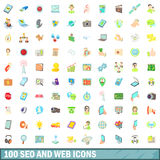 100 seo and web icons set, cartoon style. 100 seo and web icons set in cartoon style for any design vector illustration Stock Illustration
