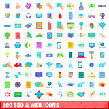 100 seo and web icons set, cartoon style. 100 seo and web business icons set in cartoon style for any design vector illustration Stock Images