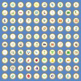 100 seo and web icons set cartoon vector. 100 seo and web icons circle set on blue background cartoon style vector illustration Royalty Free Stock Photos