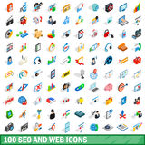 100 seo and web icons set, isometric 3d style Stock Photo