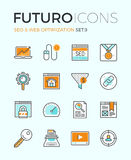 SEO and web optimization futuro line icons Royalty Free Stock Images