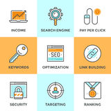 SEO and web optimization line icons set Stock Photography