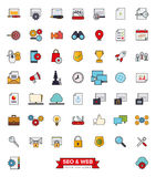 SEO and Web Services filled line icon set Royalty Free Stock Photography
