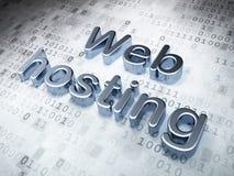 SEO-Webdesignkonzept: Silbernes Web-Hosting an Stockbilder