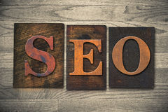 SEO Wooden Letterpress Theme Royalty Free Stock Photography