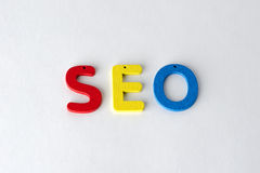 Seo. Wooden letters of the word Royalty Free Stock Photo