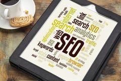 SEO-woord of markeringswolk Royalty-vrije Stock Afbeelding