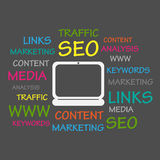 SEO Word Cloud Stock Foto